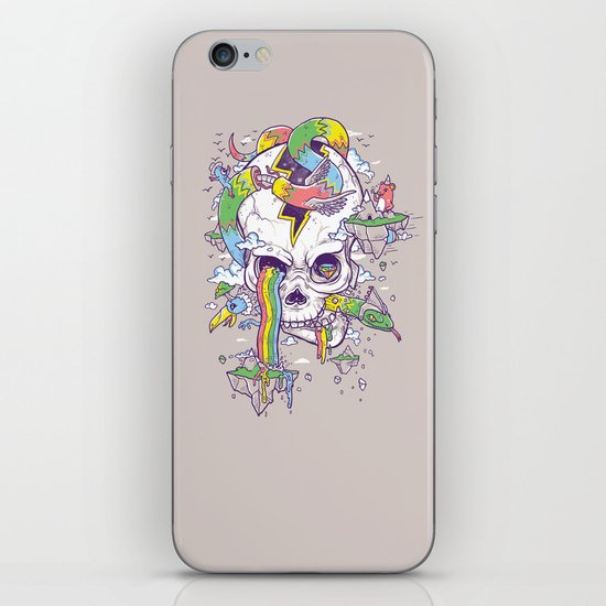 Flying Rainbow skull Island iPhone & iPod Skin