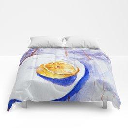 Lemon on a plate - Watercolors Comforters