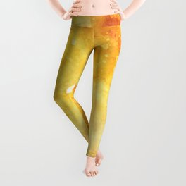 Watercolor yellow orange hand painted abstract pattern Leggings