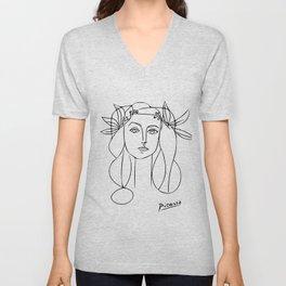 Woman Wearing Flower Crown, Minimalist Line Art Unisex V-Neck