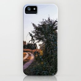 Country dirt road in Lomellina at sunset iPhone Case