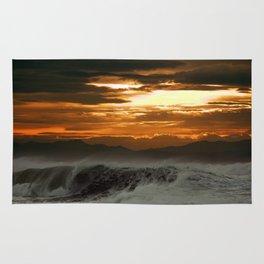 Winter Shorebreak at Sunset Rug