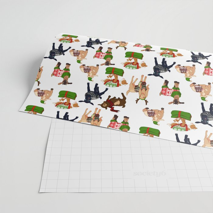 Christmas goats in sweaters repeating seamless pattern Wrapping Paper