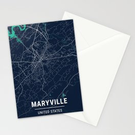 Maryville Blue Dark Color City Map Stationery Cards