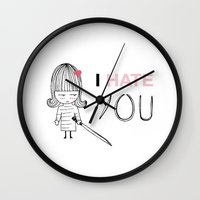 kill bill Wall Clocks featuring I Hate You / Kill Bill by Etiquette