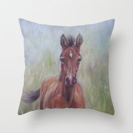 Baby Horse, Foal in the spring meadow, Cute Horse portrait Pastel drawing Throw Pillow