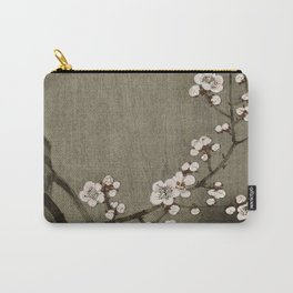 Blossoming plum tree at full moon  - Vintage Japanese Woodblock Print Art Carry-All Pouch
