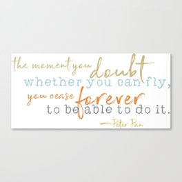 Nostalgic Inspirational Quote Storybook Quote from Peter Pan Canvas Print