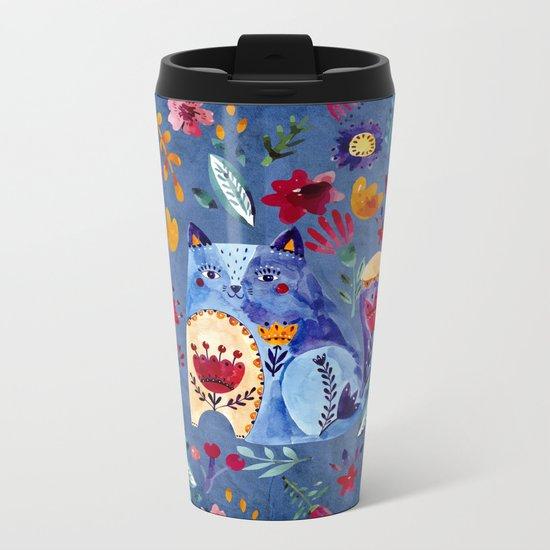The Cheeky Cat in Flower Garden Metal Travel Mug
