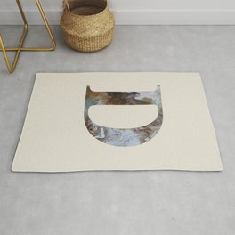 Letter 'D' Monogram with Abstract Art Rug