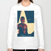 avenger Long Sleeve T-shirts featuring Captain - the First Avenger by Glesga Geek