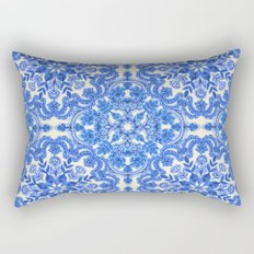 Cobalt Blue & China White Folk Art Pattern Rectangular Pillow
