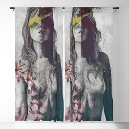 To The Marrow: Autumn (nude faceless girl in topless with lilies) Blackout Curtain