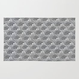 Vintage Japanese Waves, Gray / Grey and White Rug