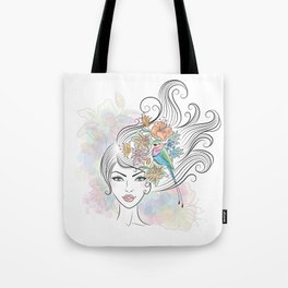 Portrait of a woman with tropical flowers and a bird in her hair. Tote Bag