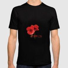 FLOWERS - Poppy reverie Mens Fitted Tee MEDIUM Black