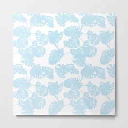 Blue monstera tropical leaves print Metal Print