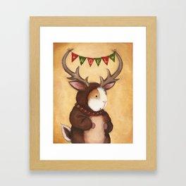 Ferdie the Christmas Reindeer Guinea Pig Framed Art Print