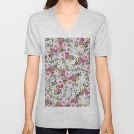 Vintage rustic white wood blush pink floral Unisex V-Neck