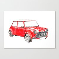 mini cooper Canvas Prints featuring Red Mini Cooper by Meg Ashford