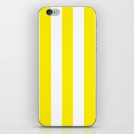 Canary yellow - solid color - white vertical lines pattern iPhone Skin