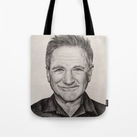robin williams Tote Bags featuring Robin Williams by Lindsay Hall