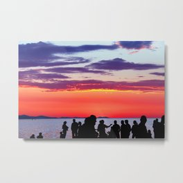 Silhouettes in the sunset Metal Print