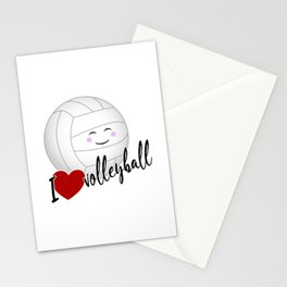 I love volleyball happy kawaii Stationery Cards
