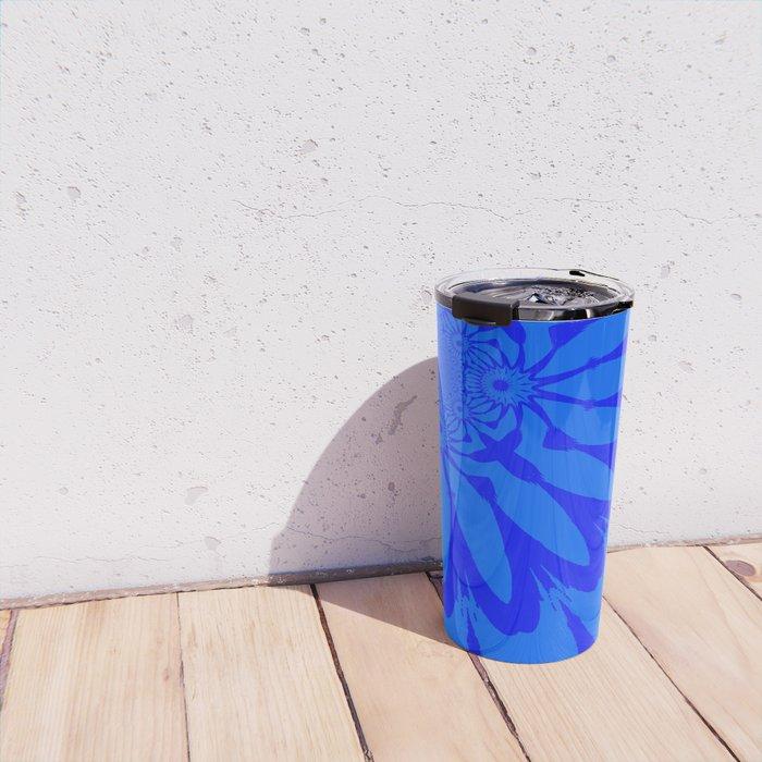 The Modern Flower Blue on Blue Travel Mug
