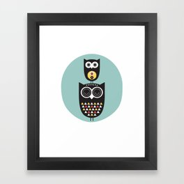 Owl décor - modern nursery art - geometric pattern Framed Art Print