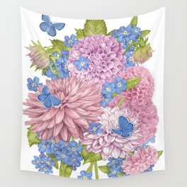 Dahlias and Forget Me Nots Wall Tapestry