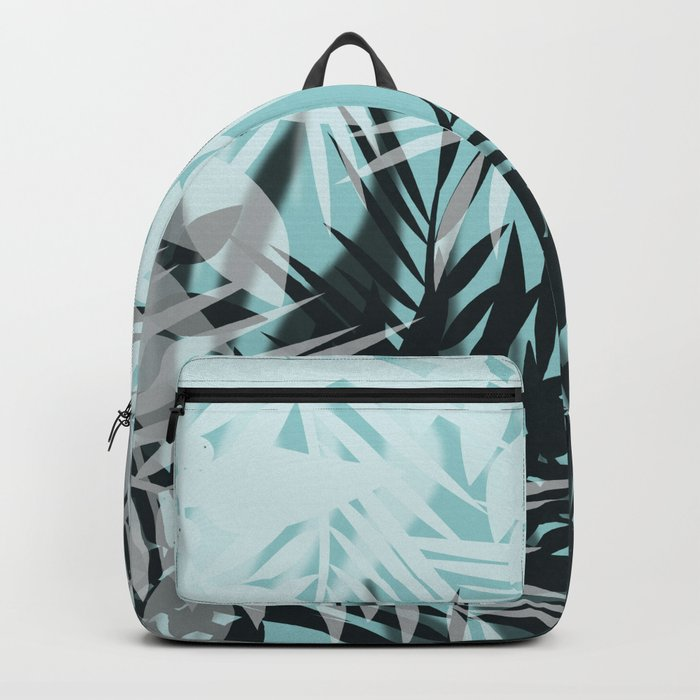 Tropical blue summer print palm leaves Backpack