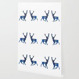 Winter Deer Snowflakes Wallpaper