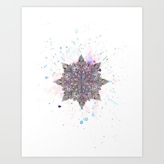 Zen Watercolor Mandala Art Print
