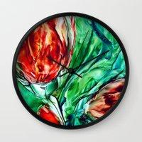 tulips Wall Clocks featuring Tulips  by ART de Luna