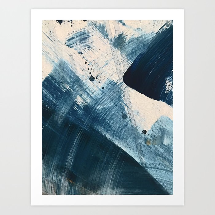 Against the Current [2]: A bold, minimal abstract acrylic piece in blue, white and gold Kunstdrucke