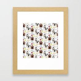 Malamute Dog Half Drop Repeat Pattern Framed Art Print