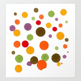 Summer to Autumn Happy Dots - Abstract Ink Painting Art Print