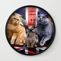 british flag Wall Clocks featuring British Shorthair by Selina Morgan
