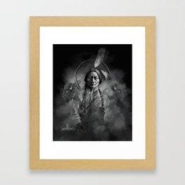 Black and white portrait-Sitting bull Framed Art Print