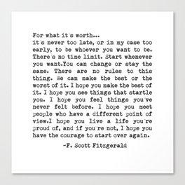 F. Scott Fitzgerald Canvas Print