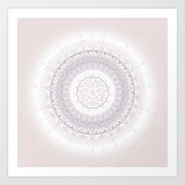 Floral Damask Mandala Blush White Art Print