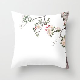 pink cherry blossom Japanese woodblock prints style Throw Pillow