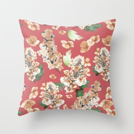 Autumn Hydrangea on Rose Pattern Throw Pillow