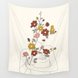 Colorful Thoughts Minimal Line Art Woman with Wild Roses Wall Tapestry