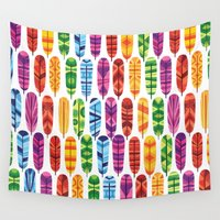 feathers Wall Tapestries featuring Feathers by Wharton
