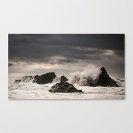 Waves Batter the Ocean Rocks During Rough Weather at Harris Beach State Park in Brookings, Oregon Canvas Print