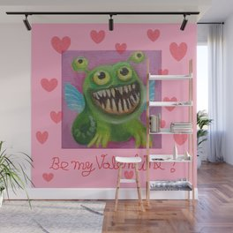 Be my Valentine! Funny Baby Dragon with hearts and quote Wall Mural