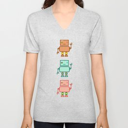 Three Waving Robots Unisex V-Neck