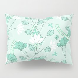 Vintage flowers in a green background Pillow Sham